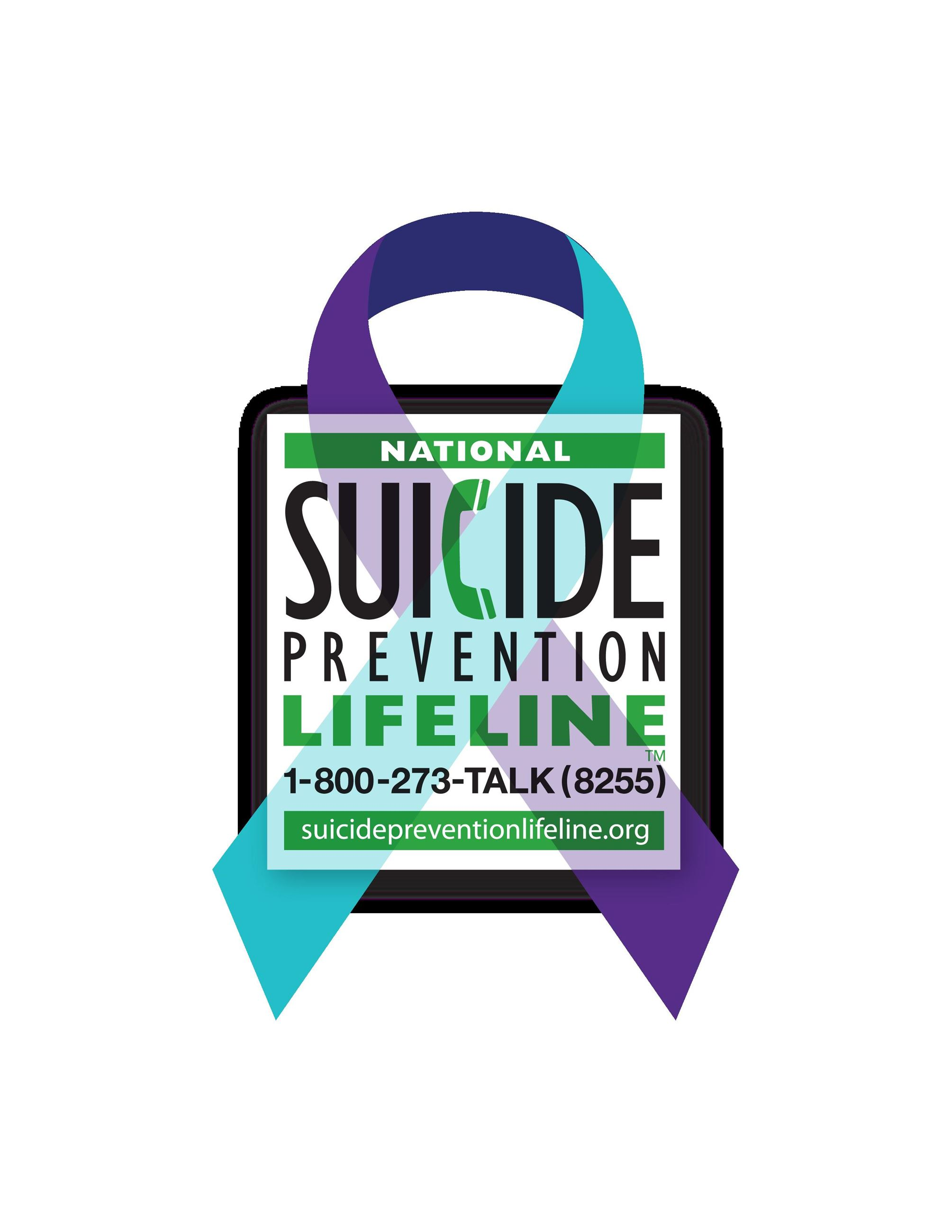 suicide prevention ribbon on top of national suicide prevention lifeline logo